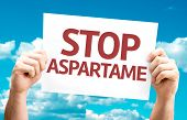 Stop Aspartame card with sky background