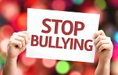 Stop Bullying card with colorful background with defocused lights