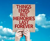 Things Ends but Memories Last Forever card with sky background