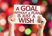 A Goal without a Plan is Just a Wish card with colorful background with defocused lights