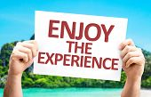 Enjoy the Experience card with a beach background