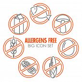 Vector icons set for allergens free products (milk, fish, egg, gluten, wheat, nut, lactose, corn, mushroom)