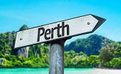 Perth sign with a beach on background