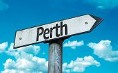 Perth sign with sky background