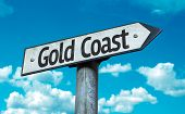 Gold Coast sign with sky background