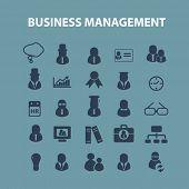 business management, marketing, human resources, organization, teamwork icons, signs, illustrations set, vector
