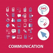 communication, connection, technology, smartphone, internet icons, signs, illustrations set, vector