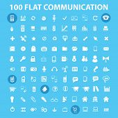 100 flat communication, connection, infographics, computer icons, signs, illustrations set, vector
