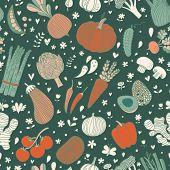 Awesome tasty seamless pattern with green peas, eggplant, potato, carrot, pumpkin, avocado, leek, radish, pepper, cherry tomato, champignon, onion and other vegetables