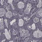 Vegetarian seamless pattern with green peas, eggplant, potato, carrot, pumpkin, avocado, leek, corn, cucumber, cabbage, radish, pepper, cherry tomato, chili, garlic, champignon, onion and others