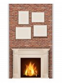 picture of pilaster  - classic fireplace on brick wall background and picture frames - JPG