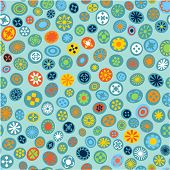 Seamless spring fabric pattern with flower spots