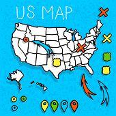 Hand drawn United States map