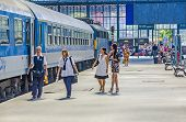 People Wait In The Famous West Train Station In Budapest