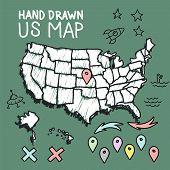 Hand drawn US map on chalkboard vector illustration