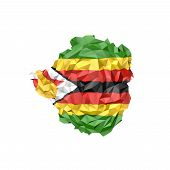Low Poly Zimbabwe Map With National Flag