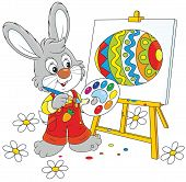 picture of cony  - Little rabbit drawing a colorful Easter egg - JPG