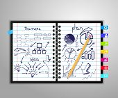 pic of graph paper  - notebook with drawing charts and graphs success business strategy plan concept idea - JPG