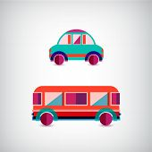 pic of motor-bus  - vector set of transport  - JPG
