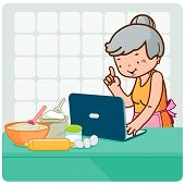 Old woman searches recipes online