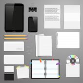 Vector corporate identity mock up. Consist of tablet pc, smart phone, CD envelope, tag, notebook, fo