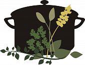 Cooking Pot Mixed Herbs Parsley Thyme Sage Basil