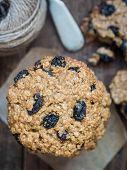 foto of baked raisin cookies  - Homemade whole grain spelt oatmeal raisin cookies - JPG