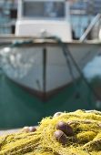 stock photo of fishnet  - Fishnets on fish boat - JPG