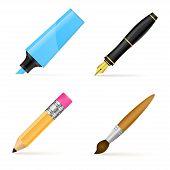 Fountain pen, marker, pencil and brush. Vector illustration
