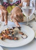 stock photo of octopus  - Octopus in a Greek restaurant - JPG