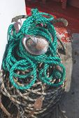 foto of fishnet  - Fishnets on fish boat - JPG