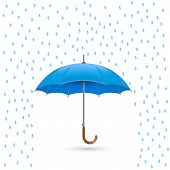 Vector illustration of cool single weather icon - elegant opened umbrella with heavy fall rain in th
