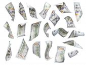 Set of Randomly Falling or Floating $100 Bills Each Isolated on White with No Overlap - Build Your Own.
