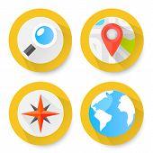 Set of flat location icons