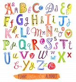 image of hand alphabet  - funny abc vector alphabet letters watercolor set - JPG