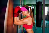 Woman Red Boxing Gloves