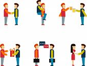 Friends and friendly relationship flat line icons set with people chatting present party isolated ve