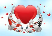 picture of koi  - Illustration of two kois with hearts background - JPG