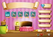 Illustration of a computer game with bedroom background