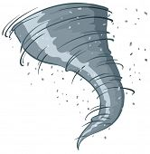 Illustration of a close up tornado