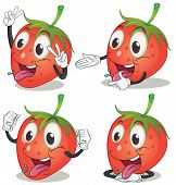 Illustration of strawberry with facial expression