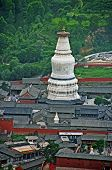 The Gigantic White Stupa Of Tayuan Temple In Wutai Shan, China Oil Paint Stylization