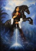 image of paint horse  - A beautiful oil painting on canvas of a young mystic woman in historic dress holding her sword emanating a light ray tho the earth and acompanied by her mighty black unicorn - JPG