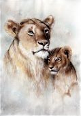 Beautiful Airbrush Painting Of A Loving Lion Mother And Her Baby Cub