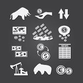 Set Of Black And White Business And Finance Stock Exchange Icons