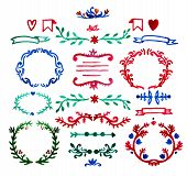 vector floral decor set of hand drawn, painted doodle frames, dividers, borders, elements.