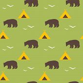 Seamless National Pattern With The Image Of The Bear