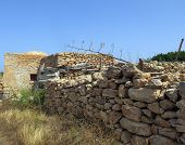 Old Peasant Houses Made Of Stone In Sicily Italy