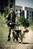 Soldier With The Dog