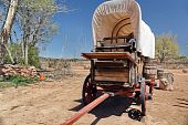 picture of covered wagon  - Covered pioneer wagon in old west Nevada America - JPG